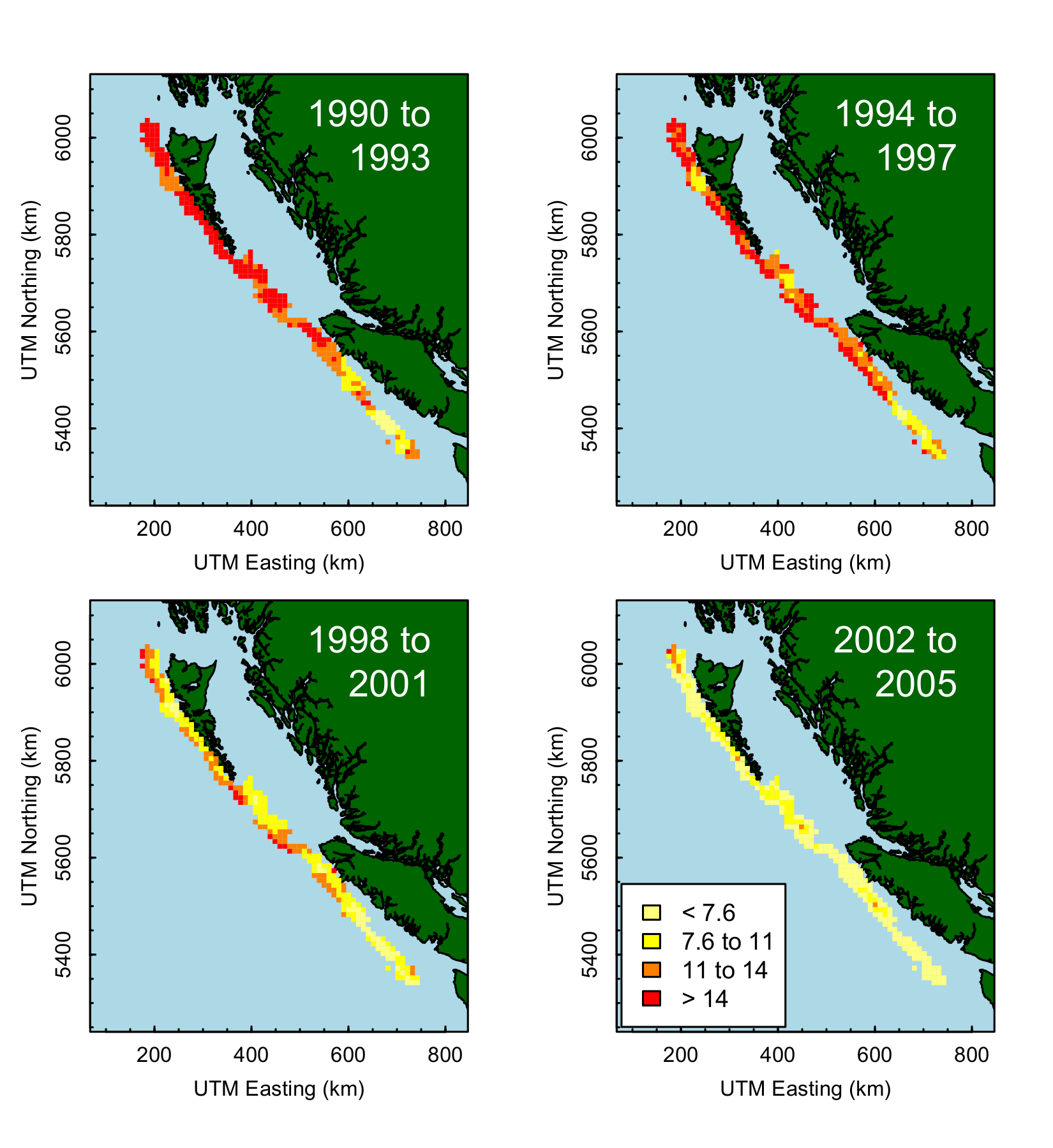 Spatial catch per unit effort in BC sablefish fishery
